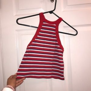 Red, white, and blue crop top.